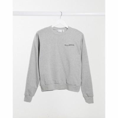 エイソス ASOS DESIGN レディース スウェット・トレーナー トップス sweatshirt with padded shoulder with logo in grey marl グレー
