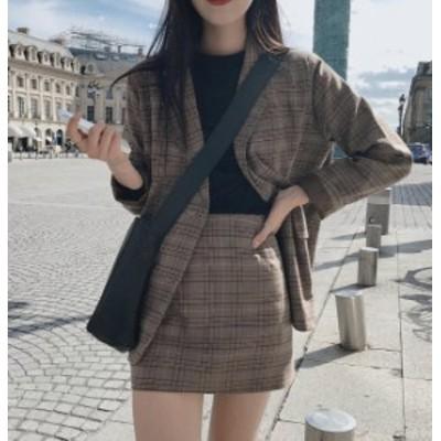 韓国 ファッション レディース セットアップ チェック ジャケット ミニスカート タイト ハイウエスト ゆったり 長袖 レトロ ガーリー