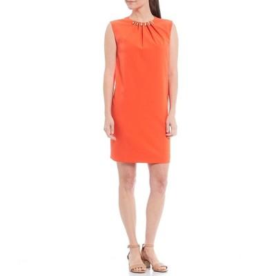 アレックスマリー レディース ワンピース トップス Dalia Ruched Studded Hardware Neck Detail Stretch Crew Neck Dress Tangerine