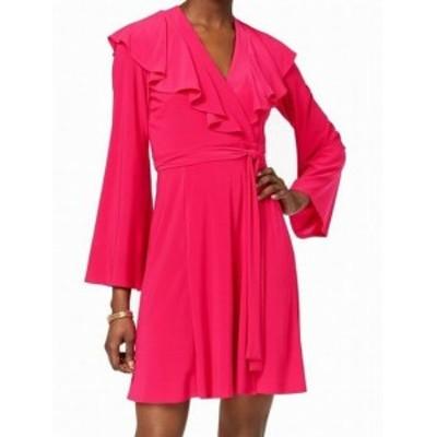 taylor テイラー ファッション ドレス Taylor Womens Dress Pink Fuchsia Size 16 Wrap Ruffle V-Neck 3/4 Sleeve