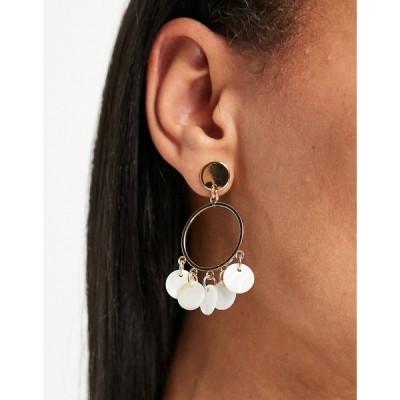 ミス セルフリッジ Miss Selfridge レディース イヤリング・ピアス フープピアス ジュエリー・アクセサリー Drop Hoop Shell Earrings ゴールド