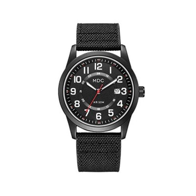 (輸入品)MDC Black Military Analog Wrist Watches for Men, Mens Army Field Tactical Sport Watch Work Watch, Waterproof Outdoor Casual Quartz Wris