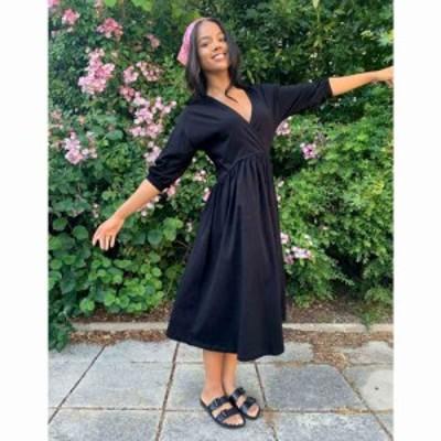 エイソス ASOS DESIGN レディース ワンピース ラップドレス ミドル丈 ワンピース・ドレス midi smock dress with wrap top in black ブラ