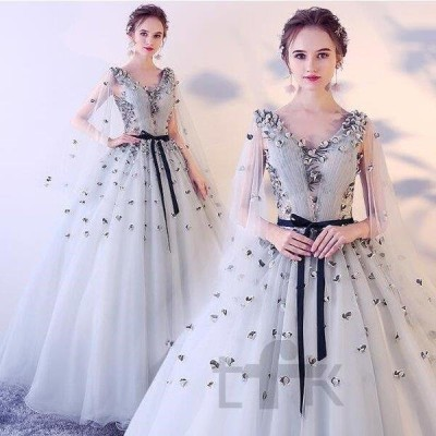 カラードレス ロング  グレー 着痩せ カラードレス 二次会 パーティードレス  編み上げ 花嫁 ウェディングドレス ウエディング 結婚式 演奏会