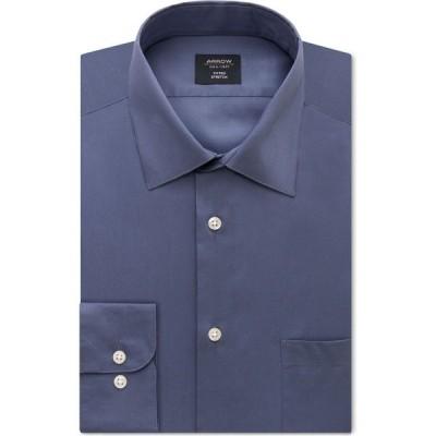 アロー Arrow メンズ シャツ トップス Fitted Non-Iron Performance Stretch Solid Dress Shirt Denim Blue