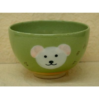 <茶道具・茶碗>白いイヌの絵の茶碗 紅山窯作