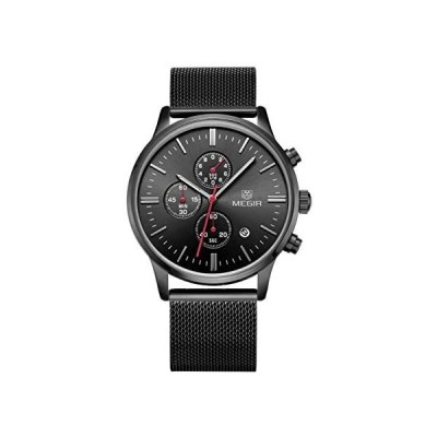 MEGIR クォーツ アナログ 夜光 3 サブダイヤル カレンダー 散らばったバンド ファッション メンズ 腕時計 2011