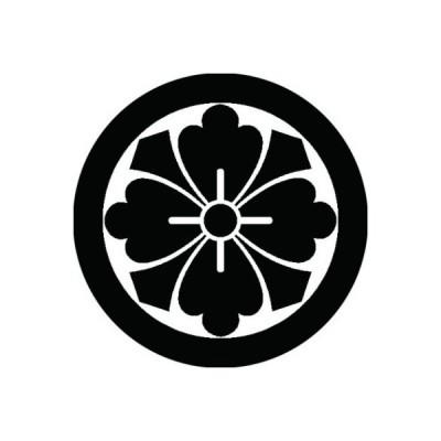 家紋シール 白紋黒地 石持ち地抜き剣花角 布タイプ 直径23mm 6枚セット NS23-2001W