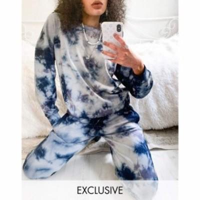ノイズィーメイ Noisy May レディース スウェット・トレーナー トップス exclusive sweater co-ord in blue and white tie dye