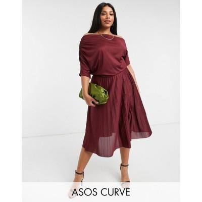 エイソス ドレス 大きいサイズ レディース ASOS DESIGN Curve exclusive fallen shoulder pleated skater midi dress in burgundy エイソス ASOS