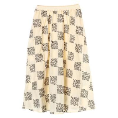 パッチワーク風刺繍ギャザーロングスカート