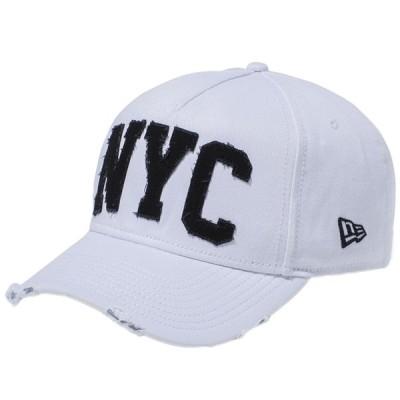ニューエラ 940 エーフレームトラッカーキャップ ダメージ ニューヨークシティ NYC ホワイト New Era 9FORTY A-Frame Trucker Cap Damaged NYC White Black