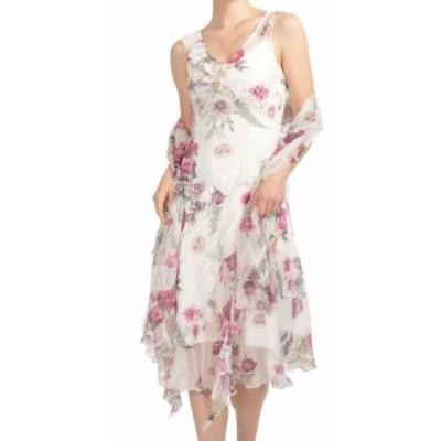 Shift  ファッション ドレス KOMOROV NEW Purple Floral Print Shawl Womens PXL Petite Shift Dress