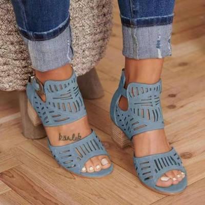 女性サンダルハイヒールグラディエーターバックルストラップファッション靴女性サンダリアスMujer 2020夏レディースサンダルプラスサ blue 35