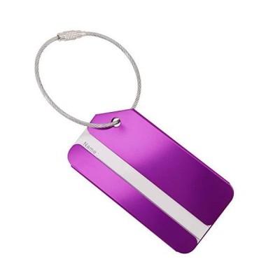 バッグタグ 名入れ お名前タグ 紛失防止 テープ 出張用ビジネスバッグタグ パープル 紫 (パープル 2枚)