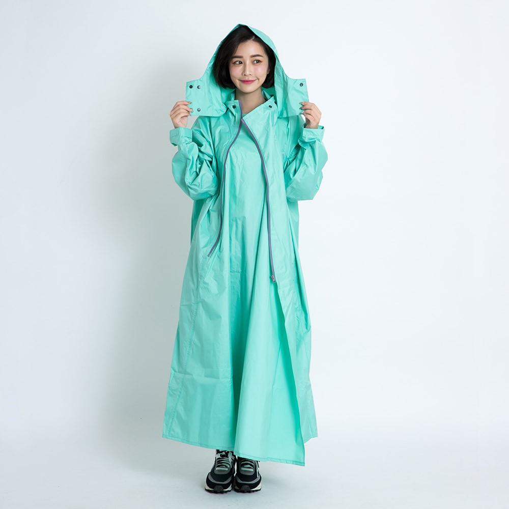 Outperform 去去雨水走斜開雙拉鍊專利連身式 蒂芬妮綠 專利雙拉鍊 斜開拉鍊 一件式雨衣 連身式雨衣《比帽王》