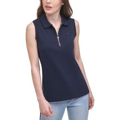 トミー ヒルフィガー レディース シャツ トップス Zip Polo Shirt