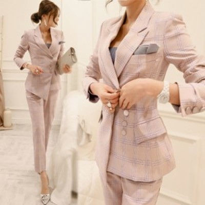 スーツ スーツセット パンツスーツ 2点セット セットアップ テーラード ジャケット+パンツ レディース フォーマル 着痩せ 通勤 OL セット