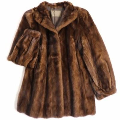 毛並み極美品▼MOONBAT MINK ムーンバット ミンク 裏地ロゴ柄 本毛皮コート ブラウン 毛質艶やか・柔らか◎