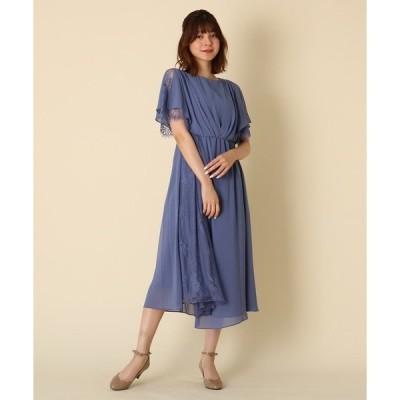 ドレス Luxe brille(リュクスブリエ)サイドレースジョーゼットロングドレス