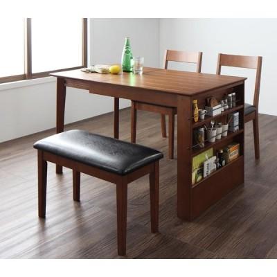 伸縮式ダイニングテーブルセット 4人用 食卓テーブルセット 伸縮テーブル 北欧風 4点セット(テーブル+チェア×2+ベンチ)
