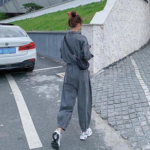 牛仔連身褲女秋季正韓寬鬆收腰顯瘦復古氣質工裝連身套裝-Milano米蘭