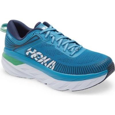ホカ オネオネ HOKA ONE ONE メンズ ランニング・ウォーキング シューズ・靴 Bondi 7 Running Shoe Blue/White