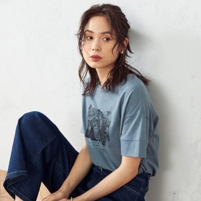 コムサイズム COMME CA ISM フォトプリント Tシャツ (ターコイズ)