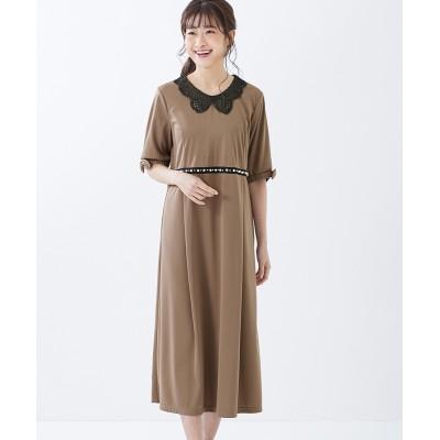 大きいサイズ パール調モチーフ付カットソーワンピース(アリスバーリー)(OtonaSMILE) ,スマイルランド, ワンピース, plus size dress