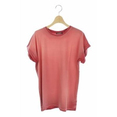 【中古】バルマン BALMAIN Tシャツ カットソー 染め加工 半袖 36 赤 /AO ■OS レディース