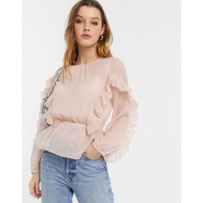 リバーアイランド レディース シャツ トップス River Island ruffle front blouse in pink
