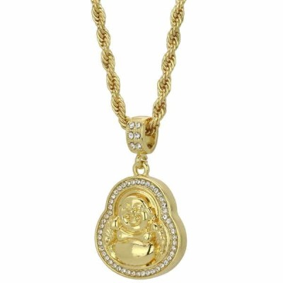 ネックレス アメリカン ジュエリー ヒップホップ Mens 14k Gold Plated Iced Out BUDDHA Cz Hip Hop Pendant 4mm Rope Chain Necklace