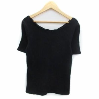 【中古】イエナ スローブ IENA SLOBE Tシャツ リブ カットソー 半袖 ラウンドネック リボン F ブラック 黒 レディース