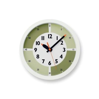 レムノス Lemnos fun pun clock with color! グリーン YD15-01 GN 掛け時計 YD15-01GN 日本製 モダ