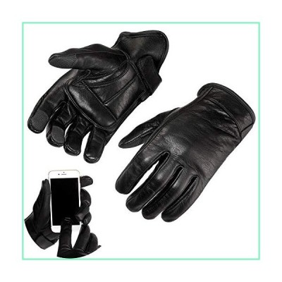 Viking Cycle Premium Heavy Duty Black Genuine Leather Water-Resistant Touch Screen Motorcycle Riding Gloves For Men (Black, 2XL)【並行輸入品】