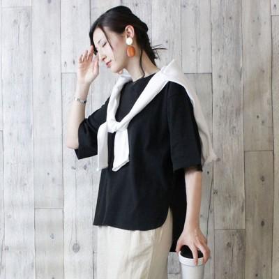 アットワン atONE ラウンドヘム オーバーサイズ 半袖 Tシャツ (BLACK)