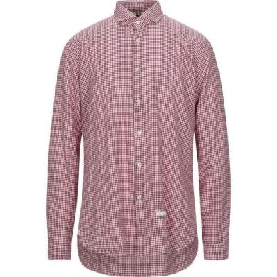 DNL メンズ シャツ トップス Checked Shirt Maroon
