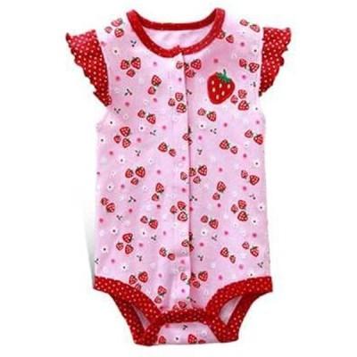 Ding-dong 女の赤ちゃん 夏 コットン 果物 イチゴ ロンパース(イチゴ, 3-6月間)