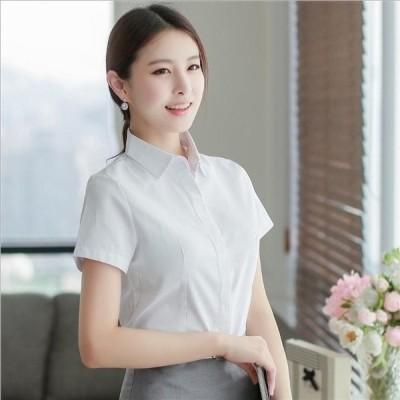 トップス シャツ ブラウス  透けない 夏 OL 通勤 ビジネス オフィス 白 半袖 仕事 会社 タイト しっかり 大きいサイズ