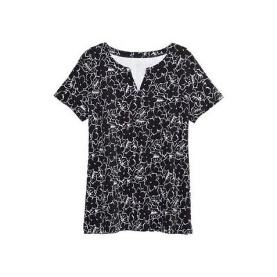 キム ロジャース レディース Tシャツ トップス Women's Perfectly Soft Short Sleeve Split Neck T-Shirt