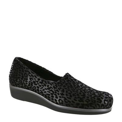 エスエーエス レディース スニーカー シューズ Bliss Leopard Print Flex Fabric Slip Ons Black Leopard