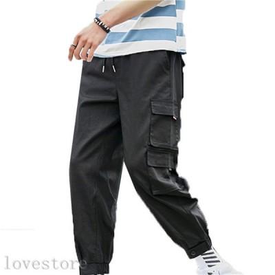 九分丈 カーゴパンツ メンズ ワークパンツ ズボン ミリタリーパンツ ポケット付き 多機能 ウェストゴム調節 大きいサイズ おしゃれ 通勤