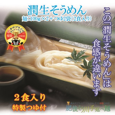 【2食】【200g(100g×2袋)】手延べ潤生そうめん(2食入り特製つゆ付)