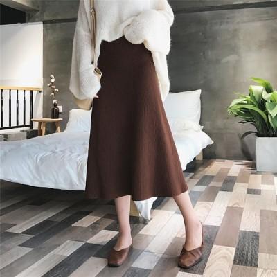 超人気韓国chic 韓国のファッション ニットスカート ミッドレングス ハイウエスト ウールスカート