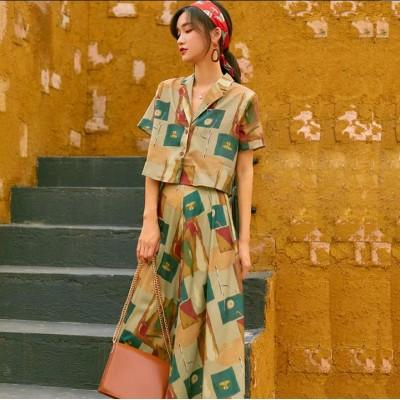 2020春夏新作/韓国ファッション春夏服  可愛い 復古風 2点セット スカートスーツ トップス スカート 上下セット/着やせ効果抜群 カジュアル
