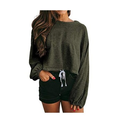 Womens Casual Long Sleeve Tops Waffle Knit Plain Baggy Thermal Pullover Kni