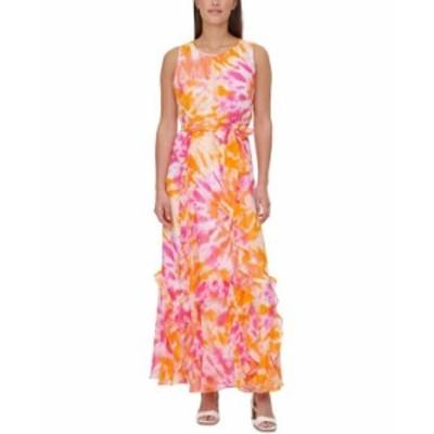 カルバンクライン レディース ワンピース トップス Tie-Dyed Maxi Dress Tangerine/Hibiscus Multi
