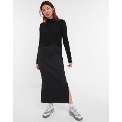 リバーアイランド River Island レディース ワンピース ミドル丈 ワンピース・ドレス satin jumper hybrid midi dress in black ブラック