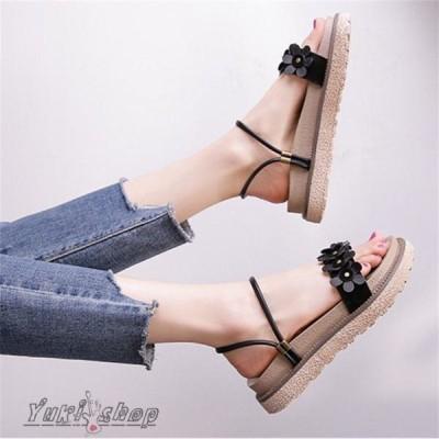 サンダル レディース ぺたんこ 履きやすい 靴 夏 大きいサイズ 厚底サンダル キャメル カーキ ビーチサンダル ビーサン リゾート 韓国ファッション