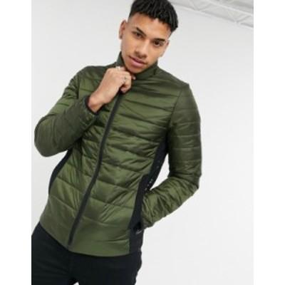 カルバンクライン メンズ ジャケット・ブルゾン アウター Calvin Klein small logo lightweight puffer jacket in olive green Dark oliv